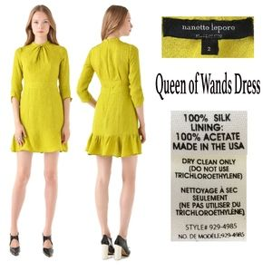 NANETTE LEPORE Chartreuse QUEEN OF WANDS Dress